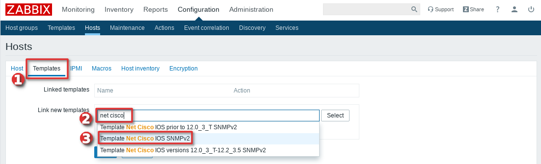 Picture showing how to add Cisco Switch or Router to Zabbix monitoring system  - Step 4