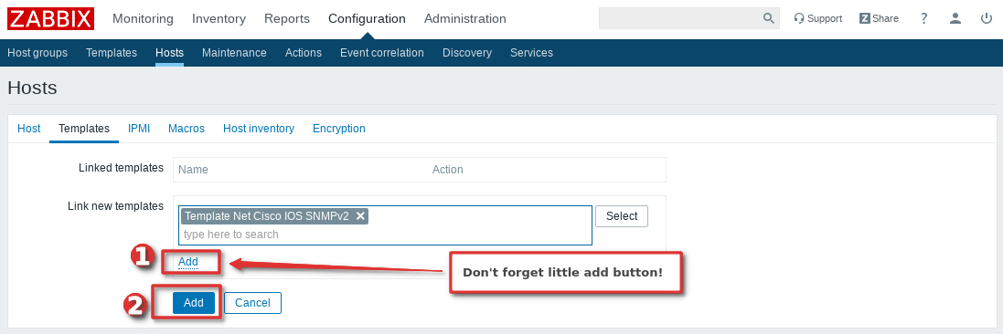 Picture showing how to add Cisco Switch or Router to Zabbix monitoring system  - Step 5