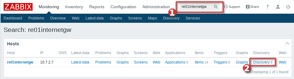 Picture showing how to instantly check all the items and LLD discoverys on Zabbix host - Step 1