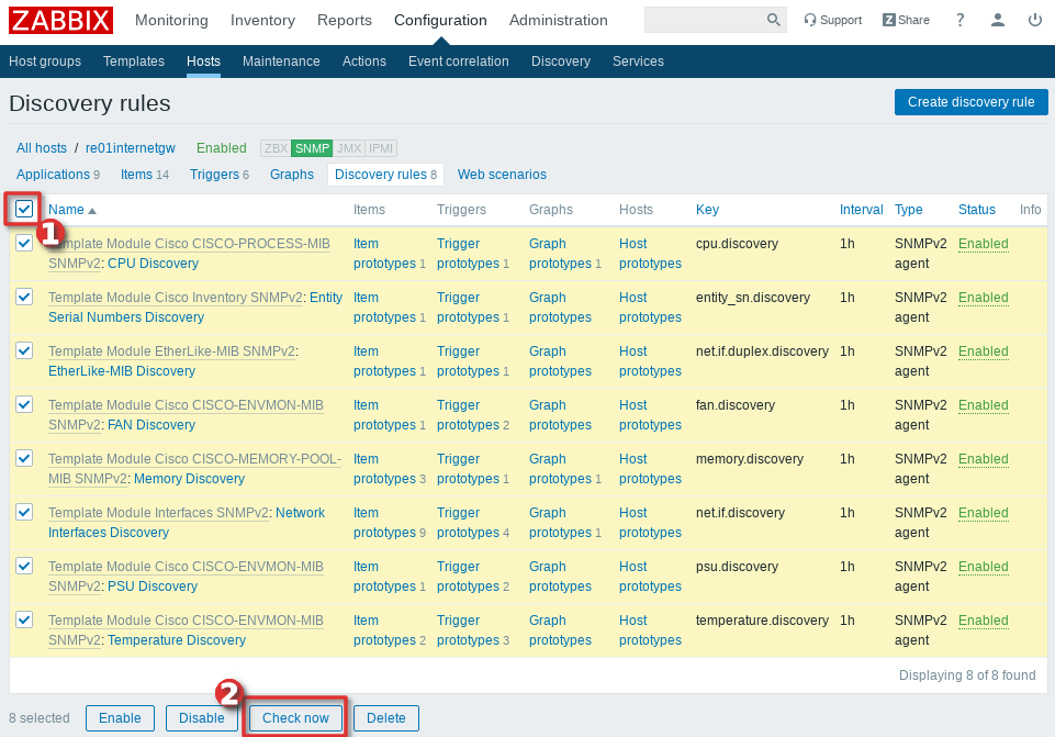 Picture showing how to instantly check all the items and LLD discoverys on Zabbix host - Step 2
