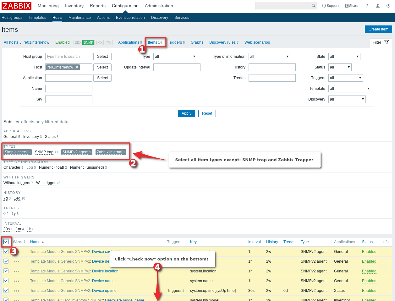 Picture showing how to instantly check all the items and LLD discoverys on Zabbix host - Step 3