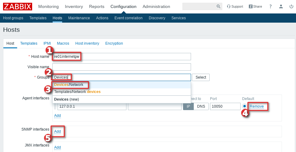 Picture showing how to add Cisco Switch or Router to Zabbix monitoring system  - Step 2