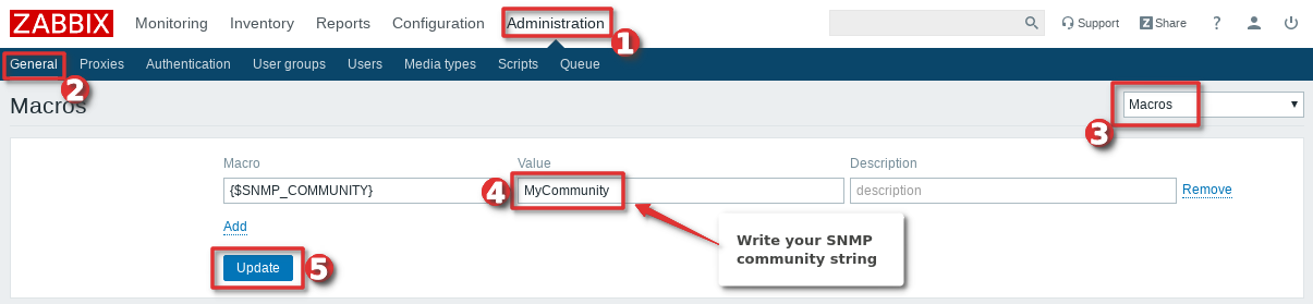 Picture showing how to change global macro {$SNMP_COMMUNITY} on Zabbix