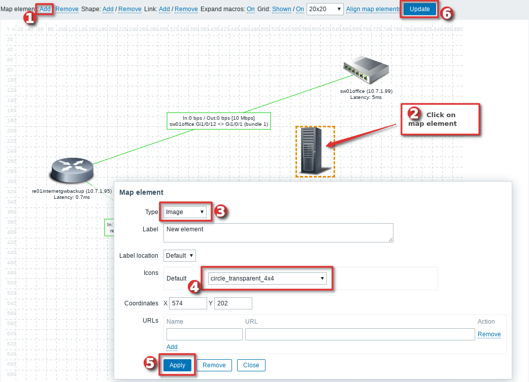 Picture showing how to add additional link without overlapping between two hosts on Zabbix map - Step 1