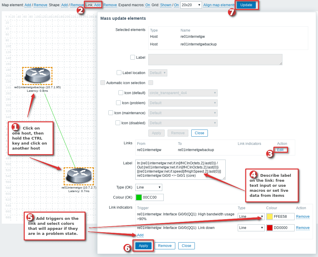 Picture showing how to add link between two host on Zabbix map