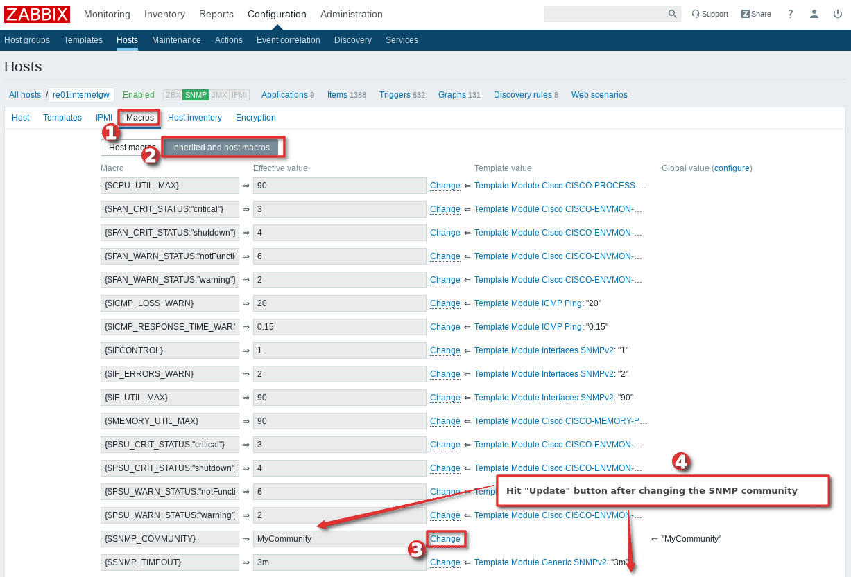 Picture showing how to change the SNMP community string only for one host - Step 2