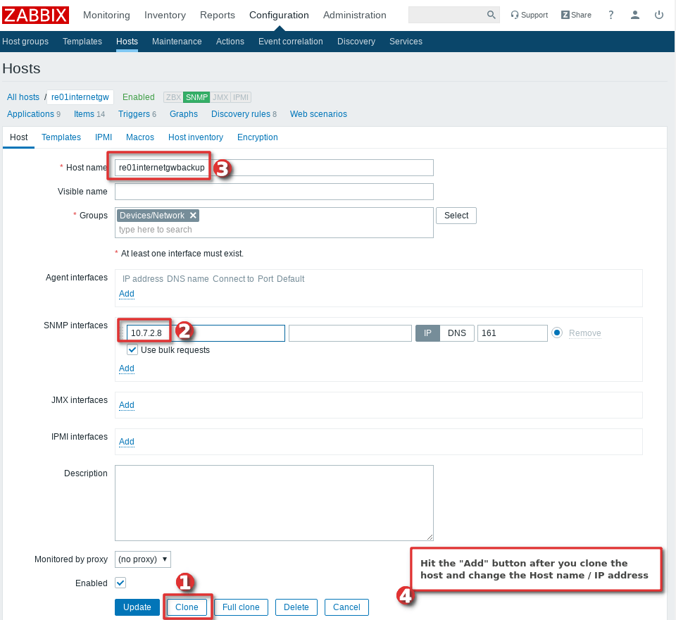 Picture showing how to clone a host in Zabbix - Step 2
