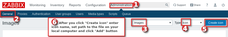Picture showing how to upload a custom icon to Zabbix