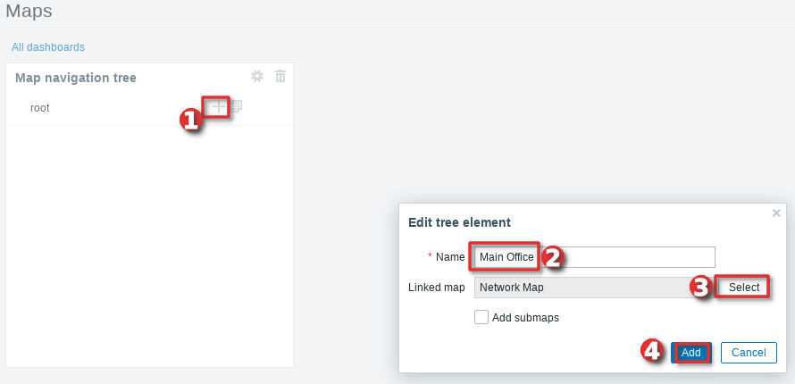 Picture showing how to configure a Zabbix map navigation tree widget - Step 3