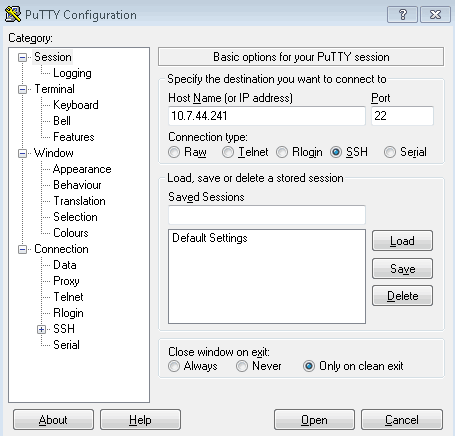 Picture showing how to connect via SSH with PuTTY