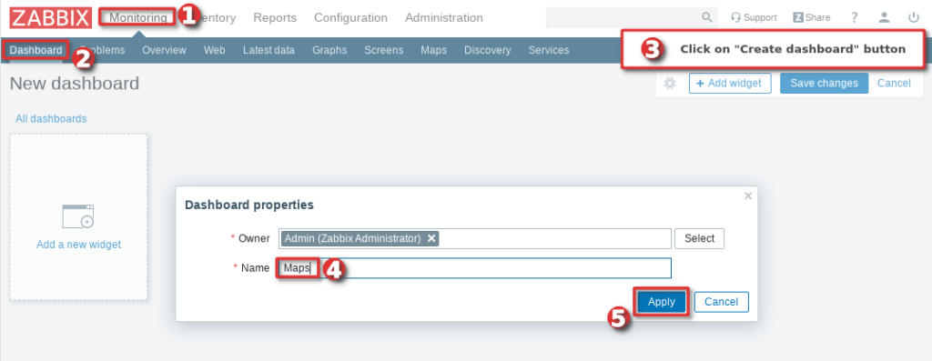 Picture showing how to configure a Zabbix map navigation tree widget - Step 1
