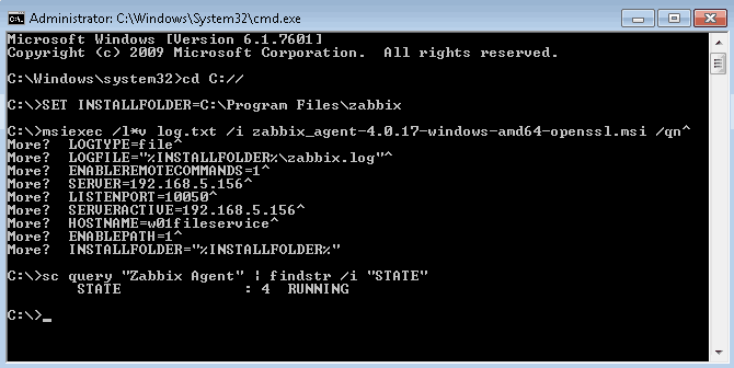 Picture showing how to install Zabbix agent on Windows server using the command line (CMD)