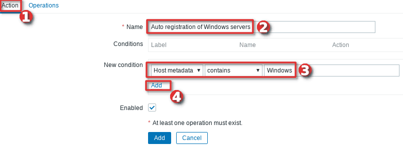 How to configure auto-registration of agents (Windows servers) in Zabbix - Step 2