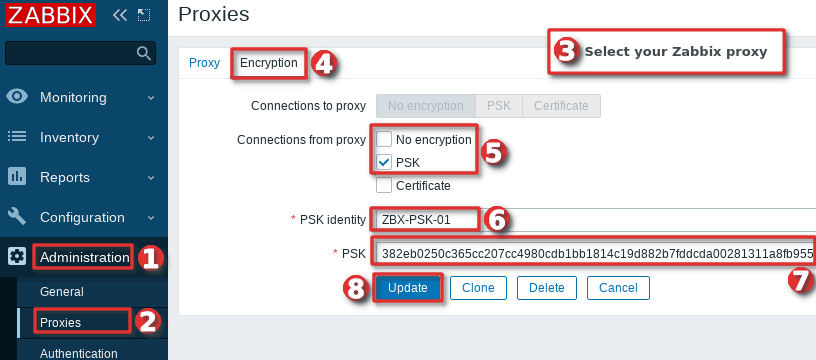 Configuring PSK encryption on Zabbix proxy in the frontend