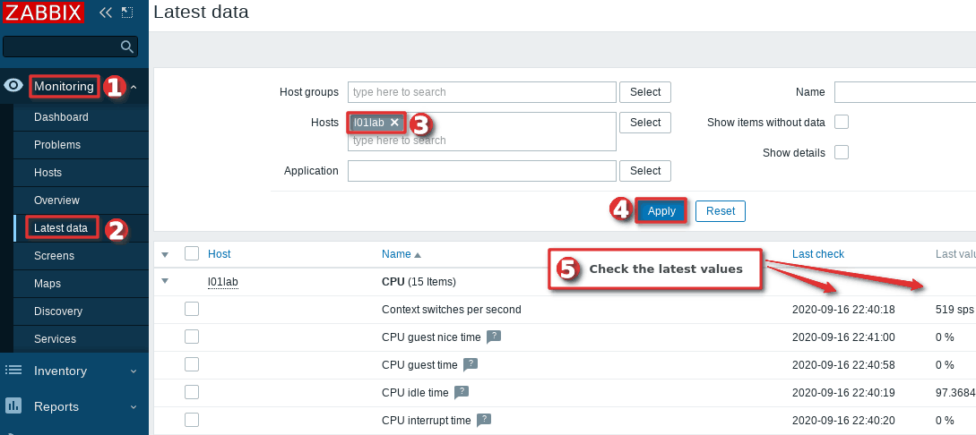 How to check the latest data collected on the Zabbix host