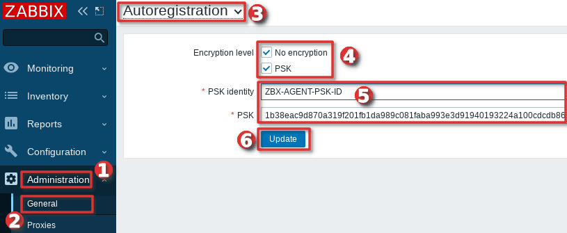 How to configure PSK encryption for auto-registration in the Zabbix frontend