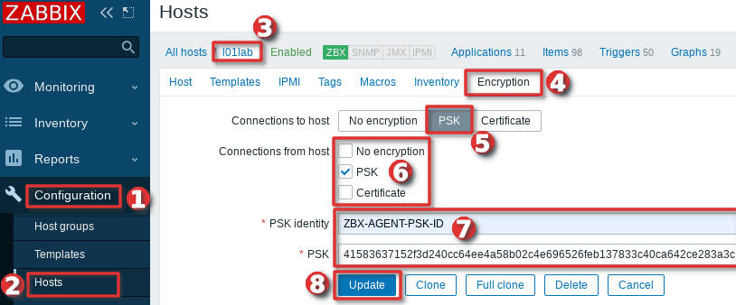 How to configure PSK encryption on Zabbix agent in the frontend