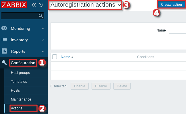 How to configure auto-registration of agents (Linux servers) in Zabbix - Step 1