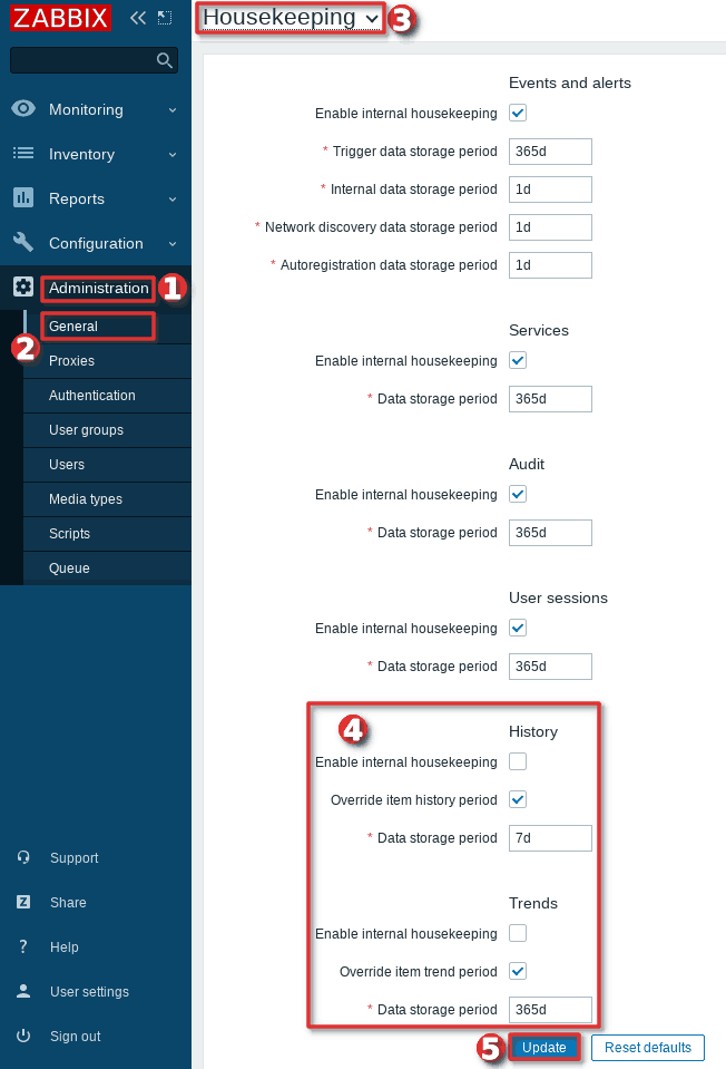 Picture showing how to configure housekeeping on Zabbix frontend
