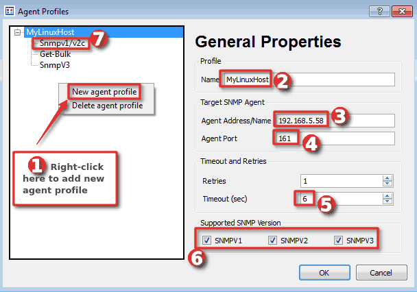 How to add SNMP agent profile on SnmpB MIB browser - Step 2