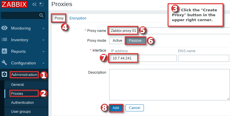 Picture showing how to register a passive proxy server in  the Zabbix frontend