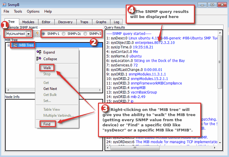 How to search MIB tree on the SnmpB MIB browser