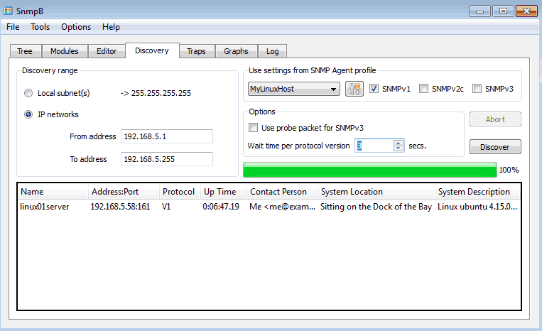 How to discover agents on the network with SnmpB MIB browser