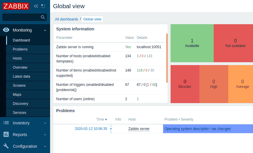 Zabbix 5.0 dashboard
