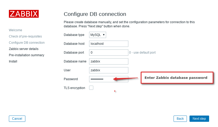 3. Installation step: Configure DB connection