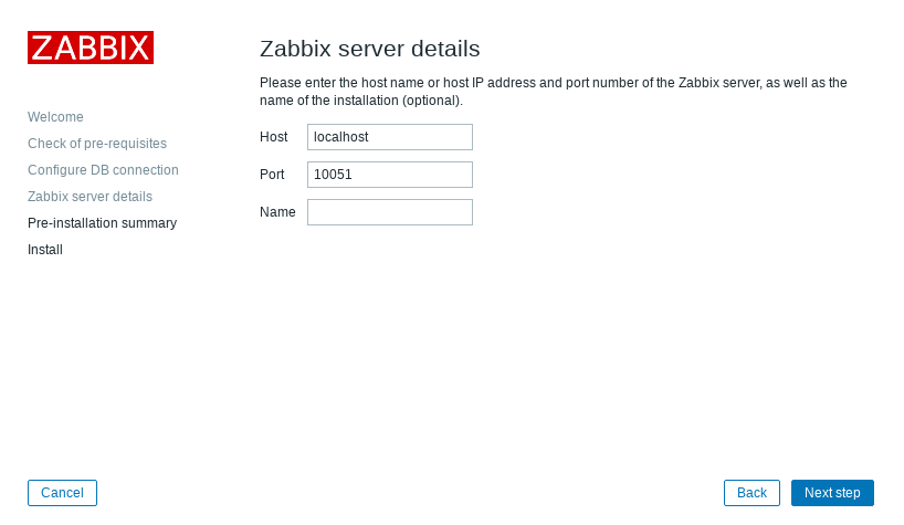4. Installation step: Configure Zabbix server